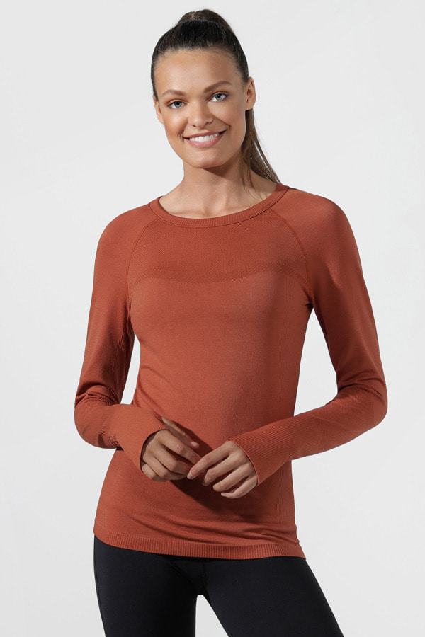[로나제인]LORNA JANE Comfort Seamless Long Sleeve Top [022050]-RUST